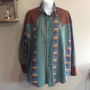 Vintage Western Long Sleeved Button Down Shirt